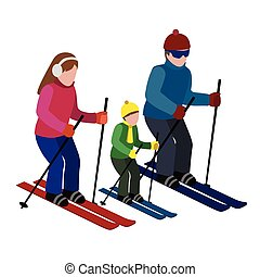 Isometric isolated happy family skiing. Cross country skiing, winter sport. Olimpic games, recreation lifestyle, activity speed extreme
