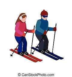 Isometric isolated man and woman skiing. Happy couple loves skiing. Cross country skiing, winter sport. Olimpic games, recreation lifestyle, activity speed extreme
