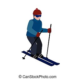 Isometric isolated man skiing. Cross country skiing, winter sport. Olimpic games, recreation lifestyle, activity speed extreme