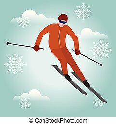 Isometric isolated vector man skiier. Urban style and hot...