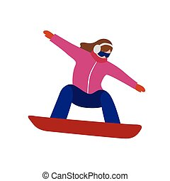 Isometric isolated vector woman snowboarder. Urban style and...