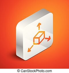 Isometric Isometric cube icon isolated on orange background. Geometric cubes solid icon. 3D square sign. Box symbol. Silver square button. Vector Illustration