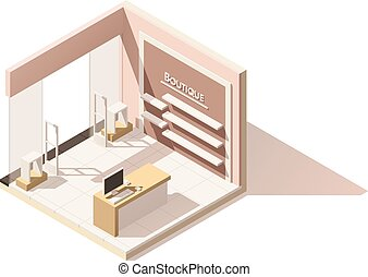 isometric, jackett, boutique, poly, vektor, låg, ikon