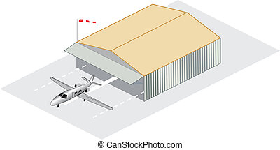 Isometric illustration of a corporate jet sitting outside a hangar