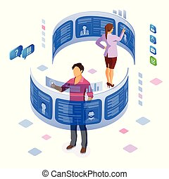 Isometric Job Agency Employment and Hiring Concept - ...