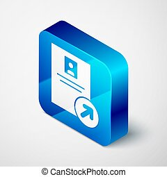 Isometric Job promotion icon isolated on grey background. Success, achievement, motivation business symbol, growth. Blue square button. Vector