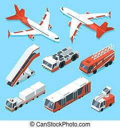 isometric, jogo, apoio, aviões, vetorial, máquinas, ilustrações, aeroporto., outro, transporte