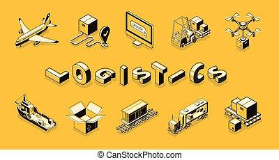 isometric, jogo, companhia, entrega, vetorial, transporte