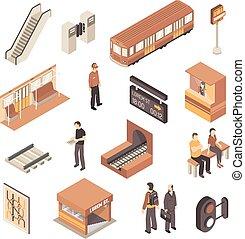 isometric, jogo, estação metro, metrô, elementos