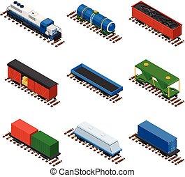 isometric, jogo, estrada ferro, trens