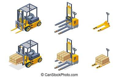 isometric, jogo, hidráulico, vetorial, armazém, máquinas