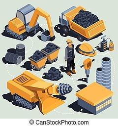 isometric, jogo, indústria, isolado, carvão, vetorial, mineração, elementos