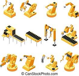isometric, jogo, indústria, robô, maquinaria, vetorial, braço mecânico