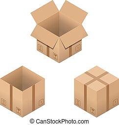 isometric, jogo, isolado, caixas, white., papelão