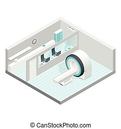 isometric, jogo, sala, gabinete, mri