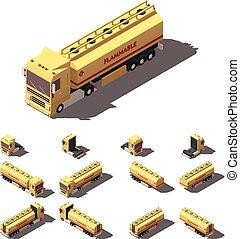 isometric, jogo, tanque, líquido, semi-reboque, vetorial,...