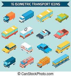 isometric, jogo, transporte, ícones
