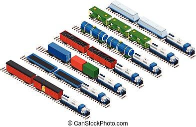 isometric, jogo, transporte, carros, cisterns, trilho, locomotivas, ilustração, volume, plataformas, vetorial, vagões, trens, coberto, estrada ferro, recipientes, consistindo, cargoes.