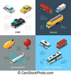 isometric, jogo, transporte