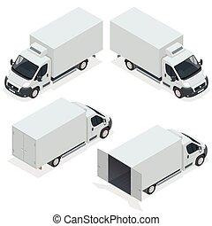 isometric, jogo, transporte, illustration., ícones, entrega, carruagem, vetorial, carro., furgão, caminhão, cargo.