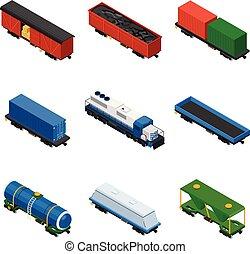 isometric, jogo, transporte, vagões, experiência., carros, cisterns, trilho, locomotivas, cargas, volume, plataformas, frete, trens, coberto, branca, recipientes, consistindo