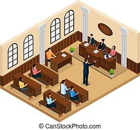 Isometric Judicial System Concept - Isometric judicial...