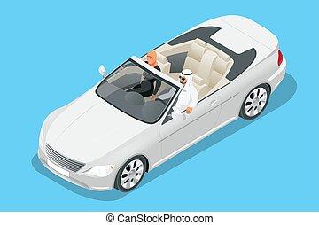 isometric, kabrió, autó, lovagol, ábra, arab, vektor, autó., utazó, párosít