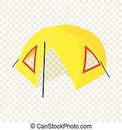 isometric, kamp, stijl, pictogram, tentje, 3d
