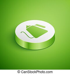 Isometric Kettle with handle icon isolated on green background. Teapot icon. White circle button. Vector Illustration