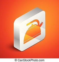 Isometric Kettle with handle icon isolated on orange background. Teapot icon. Silver square button. Vector Illustration