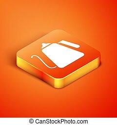 Isometric Kettle with handle icon isolated on orange background. Teapot icon. Vector Illustration