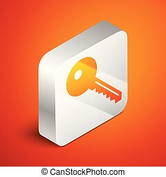Isometric Key icon isolated on orange background. Silver square button. Vector Illustration