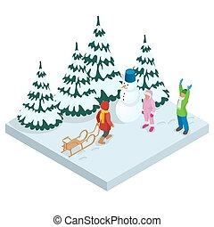 Isometric kids playing outdoors in winter