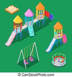 isometric, kinderen, speelplaats, communie, -, sweengs, draaimolen, glijbaan, en, sandbox., vector, illustratie