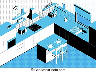 Isometric Kitchen Plan Composition