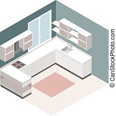 Isometric kitchen. Vector isometric low poly kitchen room icon.