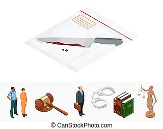 Isometric knife, evidence in a transparent package. Crime...