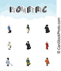 isometric, komplet, elements., osoba, marynarz, zawiera, również, wektor, sprzątaczka, objects., belfer, dama, inny, stewardessa
