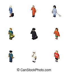 isometric, komplet, elements., również, detektyw, policjant, zawiera, technik, oficer, wektor, ludzki, objects., dama, inny