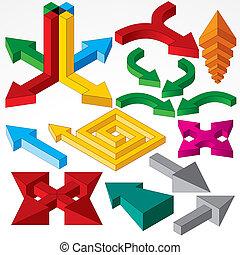 isometric, komplet, elements., strzały, wektor, projektować
