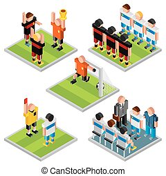 isometric, komplet, ikony, sport., wektor, projektować, piłka nożna, 3d