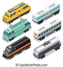 isometric, komplet, lokomotywy, waggons
