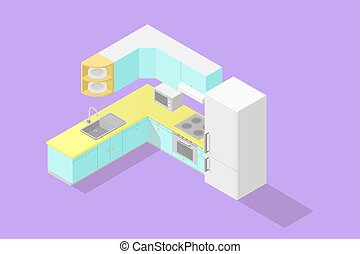isometric, komplet, niski, poly, kuchnia
