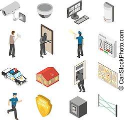 isometric, komplet, służba, ikony, dom bezpieczeństwo