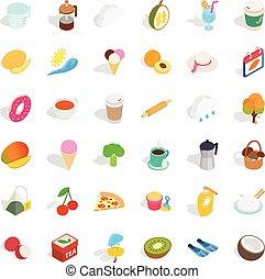 isometric, kop, set, iconen, stijl, plastic