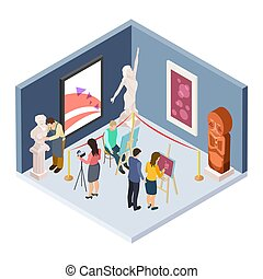 isometric, kunst, restaurateur, students., fotograaf, museum...