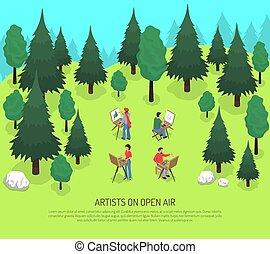 isometric, kunstenaars, open, illustratie, lucht