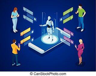 isometric, kunstmatig, intelligence., ai, en, zakelijk, iot, concept., mannen, en, vrouwen, kletsende, met, chatbot, application.