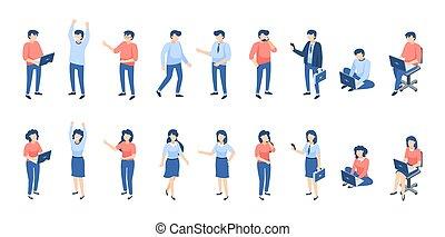 isometric, kvindelig, personer, studerende, folk., forskellige, samfund, isoleret, vektor, forretningsmænd, bogstaverne, mandlig, børn, white.