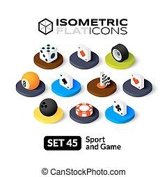 isometric, lägenhet, ikonen, sätta, 45